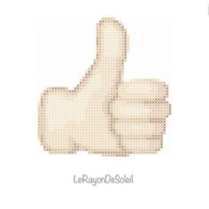 Modern cross stitch pattern thumbs up hand sign by LeRayonDeSoleil