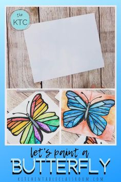 Explore the concept of symmetry while making your own watercolor butterfly painting. This lesson inlcudes a free video tutorial! Butterfly Drawing, Butterfly Painting, Butterfly Watercolor, Butterfly Crafts, Drawing For Kids, Painting For Kids, Art For Kids, Drawing Tips, Spring Arts And Crafts