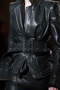 Long Leather Coat, Leather And Lace, Leather Jacket, Couture Fashion, Runway Fashion, Fashion Outfits, Womens Fashion, Haider Ackermann, Smoking Noir