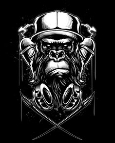 More Vector art for Clothing brands Monkey Wallpaper, Illustration Art Nouveau, Monkey Art, Art Vintage, Arte Sketchbook, Arte Pop, Graffiti Art, Graffiti Wallpaper, Vector Art