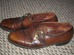 MENS VTG 60s BROWN LEATHER MONK STRAP BUCKLE LOAFERS MOD HIPSTER BROGUE SIZE 9 B #PortagePortoPed #DressFormal
