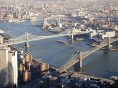 NYC: Bridges over the East River, taken from the Windows of the World in the World Trade Center in December 2000