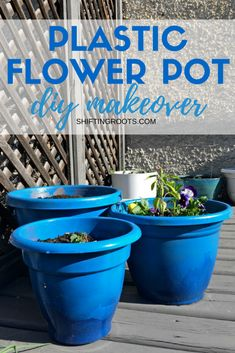 DIY Plastic Flower Pot Makeover Are your terra cotta or plastic pots looking tired? Give them an easy and creative makeover with a little bit of spray paint. Your flower pots (and plants!) will look amazing with this simple DIY idea.