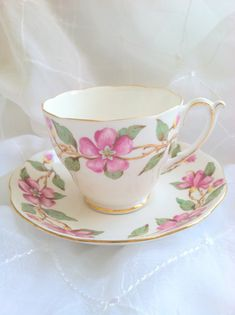 Vintage English Roslyn Tea Cup & Saucer Dogwood by MariasFarmhouse, $48.00