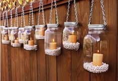 What a great way to add mood lighting to your outdoor space…jars filled with beans or sand or pebbles and drop a candle in it.  A-Z Home Decor Trend 2014: Jar Crafts - Alice T. Chan | San Francisco Bay Area Interior Renovation and Design Specialist