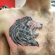 Lion head, tattoo, chest piece, tribal, tribal lion