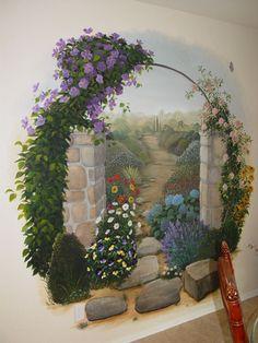 Wall Murals Garden Ideas For 2019 Mural Wall Art, Mural Painting, Paintings, Garden Mural, Hand Painted Walls, Fence Art, Old Wall, Yard Art, Street Art