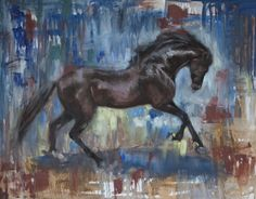 Bay Horse with Blue, equine painting by Lydia Rose Spencer, Lydia Rose Fine Art