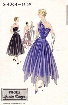 Vogue S-4064 1950s evening dress sewing pattern