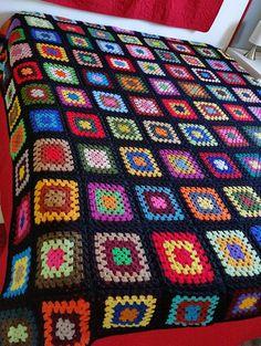 Crochet Square Patterns, Crochet Motifs, Crochet Squares, Crochet Granny, Knitting Patterns, Crochet Blanket Edging, Rainbow Crochet, Crochet Afgans, Granny Square Blanket