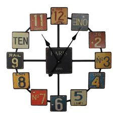 Vintage License Plate Metal Clock $76.00 + Free Nationwide Shipping