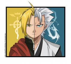 Tsukishoujo Mangaka Fullmetal Alchemist Series BLEACH Series, Game Edward Elric Character Hitsugaya Toushirou Character Aqua Eyes Blue Background Characteristic Connection Cross-Over Dragon Personality Divide Red Coat Voice Actor Connection Yellow Background Yukata Gotei 13 Character Group