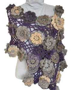 FLORAL AGE  Purple  Crochet 3D Flowers Scarf/Shawl