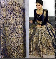 Blue Brocade Bollywood Lehenga Choli Fashion ,Indian Dresses - 1