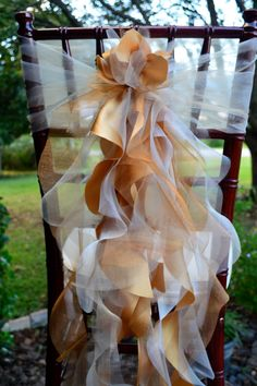 Set of 10 Custom Chair Sash Curly Willow Accent & Optional Chair Cover Sleeve for