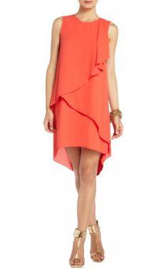 Orange Rainer Cascade Bcbg Cocktail Dress