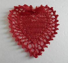 Hand Crochet Red Valentine's Day Heart Doily