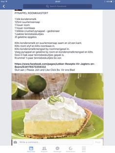 Pynappel Roomkaas Tert Tart Recipes, Cheesecake Recipes, Sweet Recipes, Baking Recipes, Dessert Recipes, Kos, Sweet Pie, Sweet Tarts, South African Desserts