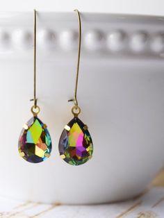 Vitrail Glass Rhinestone Earrings Vintage Jewelry Topaz Earrings Estate Style Jewelry Vintage Style Old Hollywood by michelledaleigh on Etsy https://www.etsy.com/listing/222900229/vitrail-glass-rhinestone-earrings