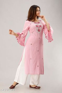 Checkout this latest Kurta Sets Product Name: *Women's Embroidered Rayon Kurta with Palazzos* Kurta Fabric: Rayon Bottomwear Fabric: Rayon Fabric: No Dupatta Sleeve Length: Three-Quarter Sleeves Set Type: Kurta With Bottomwear Bottom Type: Palazzos Pattern: Embroidered Multipack: Single Sizes: M (Bust Size: 38 in, Kurta Length Size: 45 in, Bottom Waist Size: 30 in, Bottom Length Size: 40 in)  L (Bust Size: 40 in, Kurta Length Size: 45 in, Bottom Waist Size: 32 in, Bottom Length Size: 40 in)  XL (Bust Size: 42 in, Kurta Length Size: 45 in, Bottom Waist Size: 34 in, Bottom Length Size: 40 in)  XXL (Bust Size: 44 in, Kurta Length Size: 45 in, Bottom Waist Size: 36 in, Bottom Length Size: 40 in)  Country of Origin: India Easy Returns Available In Case Of Any Issue   Catalog Rating: ★4 (584)  Catalog Name: Trendy Fabulous Women Kurta Sets CatalogID_1500561 C74-SC1003 Code: 994-8778947-5991