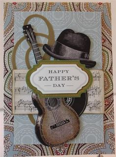 HAPPY FATHER'S DAY GUITAR ACROSS MILES HANDMADE GREETING CARD ANNA GRIFFIN STYLE in Crafts | eBay