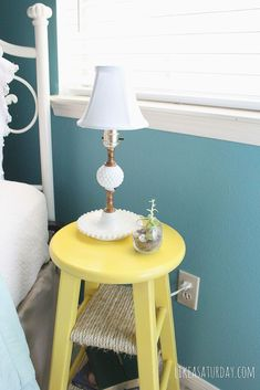 Side table repurposed from barstool hometalk.com
