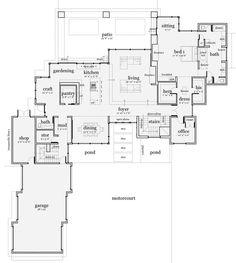 Modern Style House Plan - 5 Beds 5.5 Baths 5165 Sq/Ft Plan 64-218 Floor Plan - Main Floor Plan - Houseplans.com