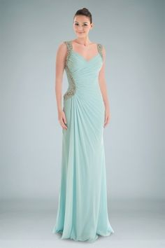 Fashionable V-neckline Chiffon Evening Dress Featuring Pleats and Rhinestones Detail