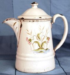 Charming Small French White/Cream Coffee Pot