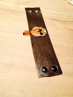 leather bracelet cuff with tiny leather owl by RedHotYellowLeather