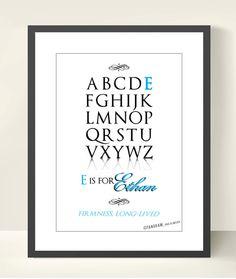 Custom Alphabet Print ABC Baby Boy Name Meaning by TANGRAMartworks, $20.00