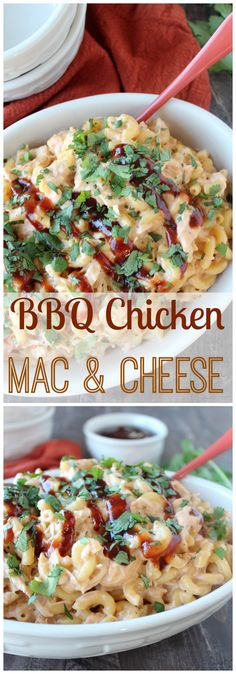 An easy & delicious dinner recipe made in 20 minutes - BBQ Chicken Mac & Cheese