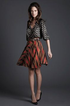 shape, pattern mixing, palette (Tucker by Gaby Basora) Stylish Outfits, Cute Outfits, Fashion Outfits, Pattern Mixing, Pattern Matching, Professional Attire, Blouse And Skirt, Mixing Prints, Feminine Style