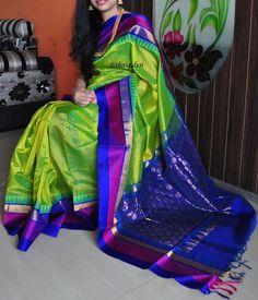 Green kanchi silk cotton saree with pure zari