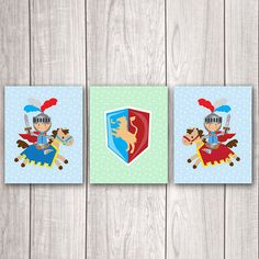 Fairy Tale Prints (Set of 3) - 8x10 Fairy Tale Art, Adventure Nursery Tuck your brave little knight into bed with this fairy tale print set