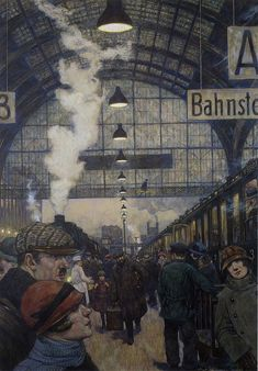 Hans Baluschek May 1870 – 28 September was a German painter, graphic artist and writer. Harlem Renaissance, Edward Hopper, Ludwig Meidner, George Grosz, World Of Tomorrow, Train Art, Old Trains, Great Paintings, Vintage Travel