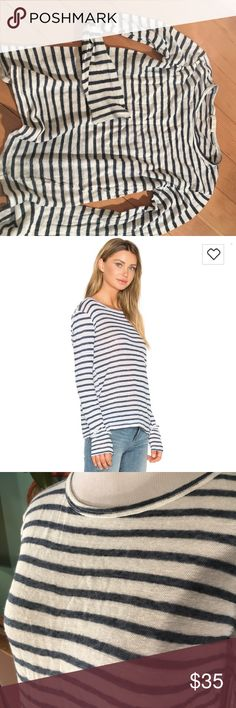 """Free people cp shades t shirt This is a white and blue striped knit t shirt from free people. The bust is 34"""", the sleeve is 22 1/2"""" and the length is 21"""". Free People Tops Tees - Long Sleeve"""