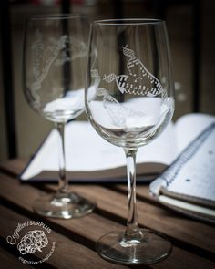 DNA Wine Glasses! Deep-etched by hand using a sandblaster in Brooklyn.  Tons of options besides wine glasses, too