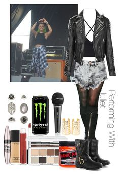 """""""Performing With Juliet Simms"""" by drewbiersack ❤ liked on Polyvore featuring MAC Cosmetics, Clinique, Glamorous, Manic Panic, Topshop, Burberry, Borger Shoes, Maybelline, Charlotte Russe and women's clothing"""