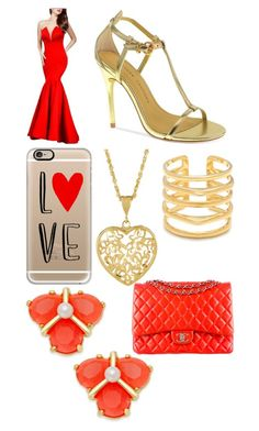 """Red and gold"" by rainy-kat ❤ liked on Polyvore featuring Chinese Laundry, Casetify, Kate Spade, Stella & Dot and Chanel"