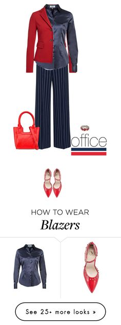 """""""Office outfit: Navy - Red"""" by downtownblues on Polyvore featuring Unisa"""