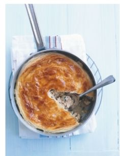Donna Hay Chicken & Leek Pot Pie.   http://www.donnahay.com.au/recipes/onepot/poultry/chicken-and-leek-pot-pie