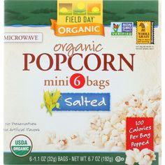 Field Day Microwave Popcorn - Organic - Salted - 100 Calorie - Mini Pack - 6/1.1 oz - case of 6