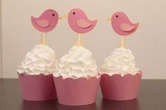 Pink Bird Cupcake Toppers
