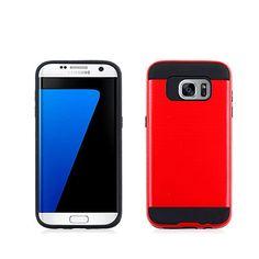 For Samsung Galaxy S7 Edge metalic fusion case-red PC+black tpu