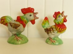 Vintage Ceramic S & P Rooster and Hen by NewLifeVintageRVs on Etsy