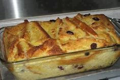 INGREDIENTS:    1 teaspoon ground cinnamon  1/4 cup sugar  4 Tablespoons butter or margarine, at room temperature  5 slices crust-on white bread  1/2 cup raisins  2 cups milk  2 eggs    DIRECTIONS:    *Preheat oven to 350 degrees F / 180 C  *Add cinnamon to sugar in cup