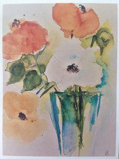 Aquarell Kunstdruck Blumen Malerei Blumenstrauß Kunstkarte
