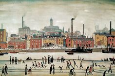 Buy stunning Northern River Scene 1930 oil painting reproductions on canvas. Museum quality hand-painted L-S-Lowry replica canvas. Salford, Framing Canvas Art, Spencer, English Artists, Oil Painting Reproductions, Modern Art Prints, Artwork Design, Pictures To Paint, Famous Artists