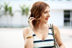 Blame it on Mei Miami Fashion Blogger 2016 Spring Outfit Casual Look with Jeans Turquoise YSL Arty Ring Striped Peplum Top with V Neck Line Chanel Classic Aquazzura Wild Thing Red Sandals Fringe Lace up Sandals Soft Waves on Short Hair